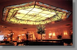 Click for a larger image. This striking backlit ceiling 20' x 20' (6.4 m x 6.4 m), located in a posh French restaurant, creates a warm and cozy atmosphere. Visually and artistically it is the most commanding artwork in the establishment.