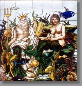 This light hearted caricature of a family is one of three panels that include the clients' son and daughter. The mythical Roman god Neptune is accompanied by his mermaid spouse and myriad exotic sea creatures including sea horses, eels, coral and other fish. The painted stained glass process, through the use of colour and detail, makes this a lively and vivacious piece.